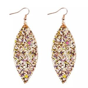 Gold and Multi Colored Glitter Drop Earrings